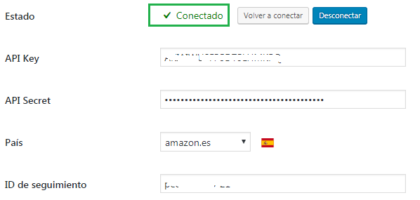 estado conectado aawp con api amazon