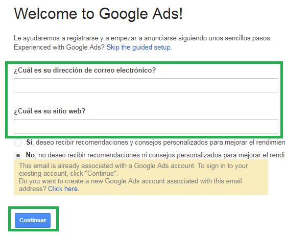 crear cuenta google adwords