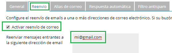 reenviar email a email personal